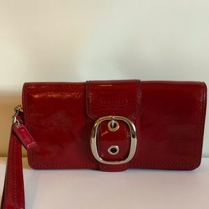 Coach Patent Leather Red Buckle Wristlet RARE!!!